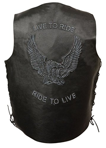 Ride Vest Lace - Men's Motorcycle Real Leather Vest Live to Ride Embroidered W/Side Laces Black (3XL Regular)