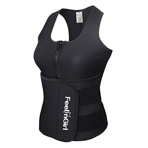 0ab6d5c42cc FeelinGirl Neoprene Sauna Suit Tank Top Vest with Adjustable Waist Trimmer  Belt (See The Size