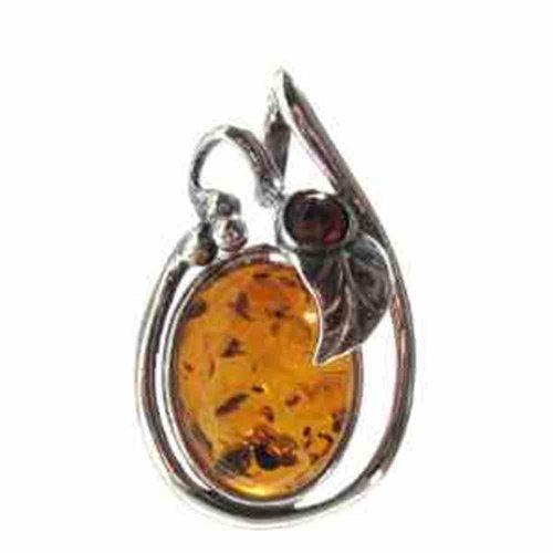 Honey Amber Sterling Silver Leaf Oval Pendant