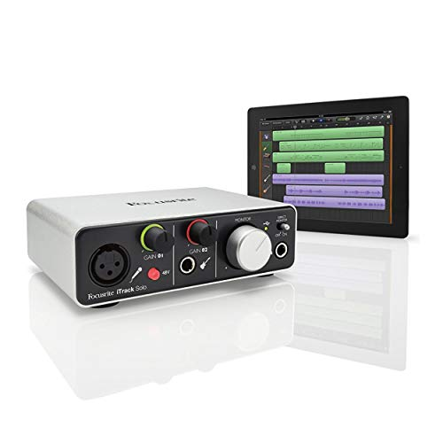Focusrite iTrack Solo Lightning Audio Interface Bundle with Recording Microphone and Knox Headphones (3 Items)