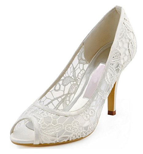 Minitoo Ladies Floral Mesh Peep Toe Lace Bridal Wedding Formal Party Sandals White-7cm Heel