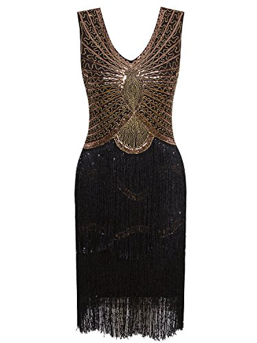 Vijiv 1920s Style Inspired Charleston Sequin Layer Tassel Cocktail Flapper Dress, Black Gold, X Large]()
