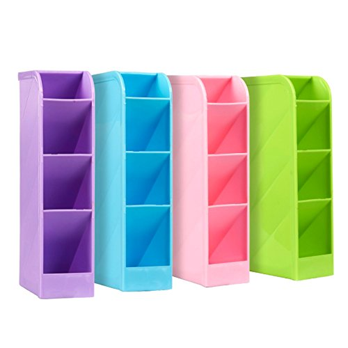 School Desk Pen Caddy Organizer - 4 Piece Set School Equipment Storage Holder for Students, Teachers, 16 Compartments for Pens, Erasers and More - Green, Pink, Blue, Purple Color