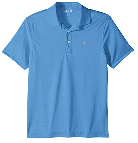 IZOD Men's Performance Golf Short Sleeve Grid Polo Shirt, Blue Revival, Large ()