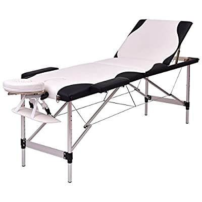 """By Choice Products Portable Massage Table w/ Carry Case, Black/White 72""""L, plus $10 Carrysoft.com Gift Card"""