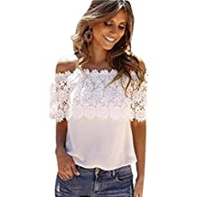 Sexy Women Off Shoulder Tops Casual Lace Blouse Crochet Chiffon Shirt by TOPUNDER