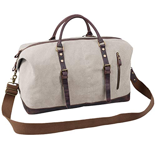 Jack&Chris Oversized Canvas Leather Trim Travel Tote Duffel shoulder handbag Weekend Bag CB1004 - Cotton Duffle
