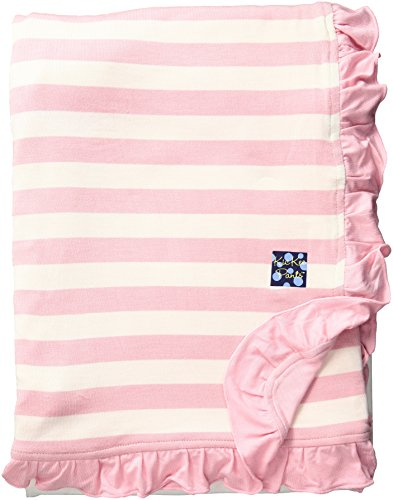(Kickee Pants Baby Essentials Print Ruffle Stroller Blanket, Lotus Stripe, One)