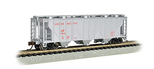 Ho Union Pacific Hopper - Bachmann Industries PS-2 Silver with Red Lettering Union Pacific Three-Bay Covered Hopper Vehicle (N Scale)