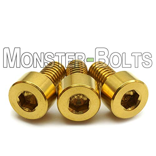 Gold Anodized Titanium finish Screws (3) - Floyd Rose Style Guitar Locking Nut Screws Set - MonsterBolts (Qty 3, Titanium - Gold) ()
