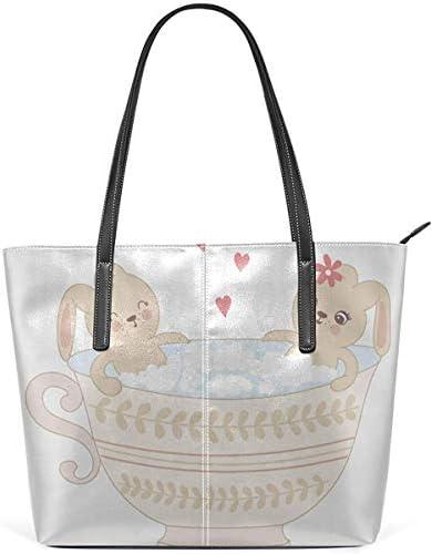 Leder Tasche Laptop Tote Bag Cute Hand Drawn Bunnies In A Cup Large Printed Shoulder Bags Handbag Pu Leather Zipper Tote Handle Satchel Purse Lightweight Work Tote Bag