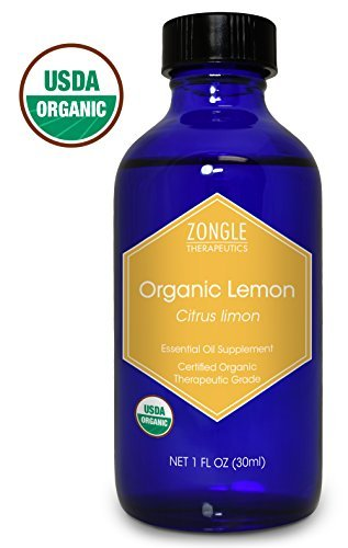 Zongle USDA Certified Organic Lemon Essential Oil, Italian, Safe To Ingest, Citrus Limon, 1 OZ ()