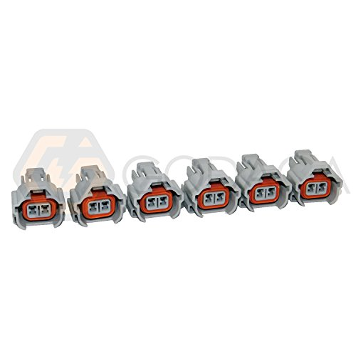 (6 X Nippon Denso Fuel Injector Connector Helix 1jz 2jz Toyota W/out Wire Top)