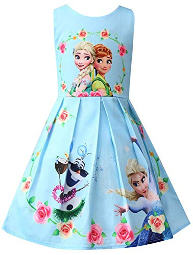 WNQY Princess Anna Costume Dresses Little Girls Cosplay Dress up (Light Blue,130/5-6Y) ()