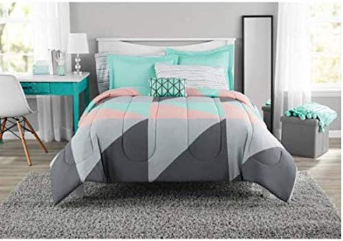 Fun and Bold Mainstays Gray and Teal Bed in a Bag Modern Comforter Set, Geometric Triangle Print with Teal Blue Gray and Pink Coral, Great for Dorms and Kid's Rooms! - Pink Triangle Coral