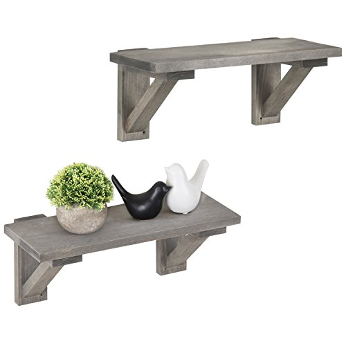 MyGift 17-Inch Rustic Gray Wood Wall-Mounted Shelves, Set of 2
