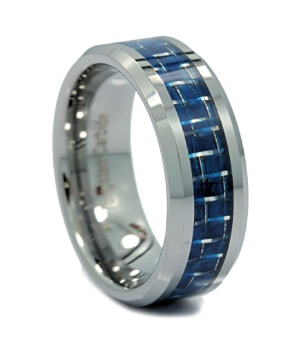 8mm Mirror Polished Tungsten Carbide Wedding Ring Blue & White Carbon Fiber Inlay Size 11.5