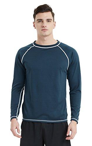 Lemorecn Men's UPF 50+ Easy Long Sleeve Rashguard Swim Shirt(5021navy-L) by Lemorecn