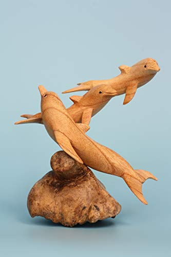 G6 Collection Wooden Hand Carved Dolphin Statue Sculpture Wood Decorative Home Decor Accent Figurine Handcrafted Handmade Seaside Tropical Nautical Ocean Coastal Decoration (3 Dolphins) (Hand Carved Wood Figurines)