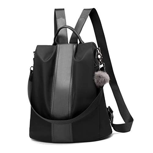 Women Backpack Purse Waterproof Nylon Anti-theft Rucksack Lightweight Shoulder Bag (Black Large)