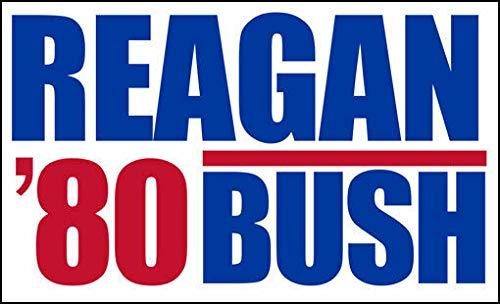 MAGNET 3x5 inch Reagan Bush 80 Bumper Sticker (Election Political Logo Ronald George) Magnetic vinyl bumper sticker sticks to any metal fridge, car, signs