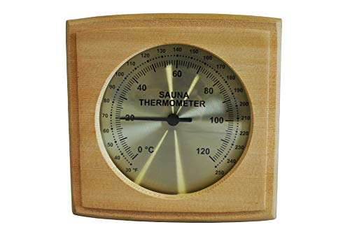 Northern Lights Group Sauna Thermometer: Western Red Cedar Wood Fininsh Dry Steam in Fahrenheit Celsius Wooden Infrared Room F and C