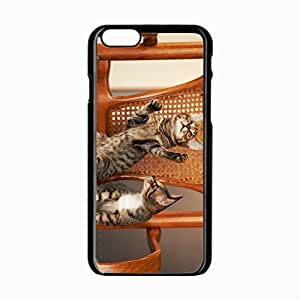iPhone 6 Black Hardshell Case 4.7inch kittens chair couple playful Desin Images Protector Back Cover