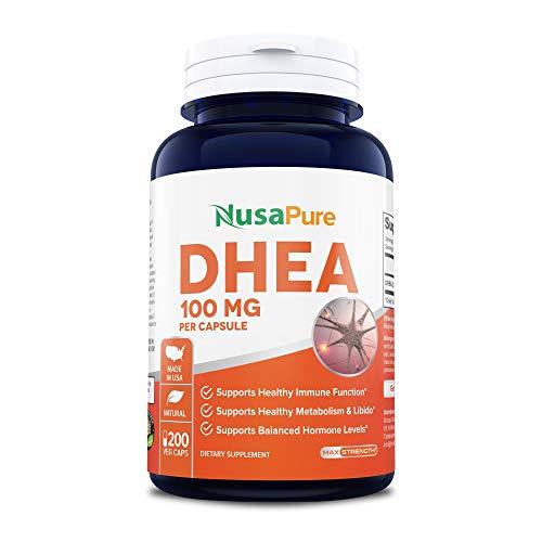 DHEA 100mg 200 Veggie Capsules (Vegetarian, Non-GMO & Gluten Free) Promote Balanced Hormone Levels for Women & Men - Support Healthy Metabolism, Brain & Immune Function from NusaPure