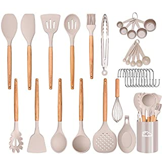 Aybloom 25 PCS Silicone Kitchen Cooking Utensil Set, Woodle Handle BPA Free Non Toxic Non-stick Heat Resistant Silicone Kitchen Gadgets Utensil Set(Khaki 25pcs)