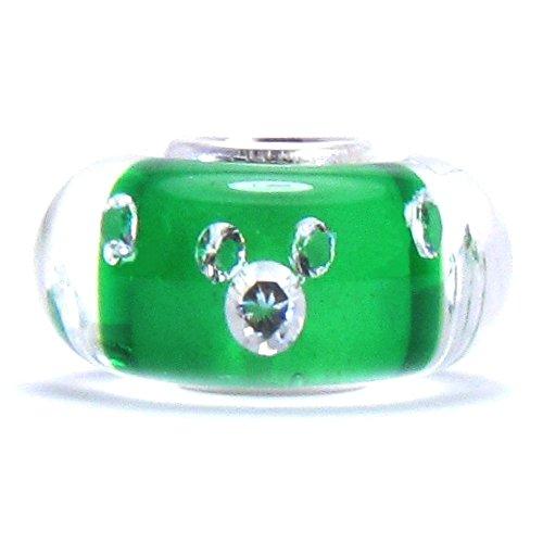 Authentic BELLA FASCINI - Green Murano Glass Charm Bead CZ MICKEY - Silver Core- Fits European Bracelets