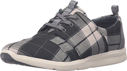 (TOMS Women's Del Rey Sneaker Black/White Plaid Sneaker 7.5 B (M))