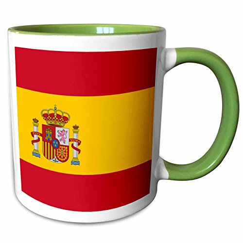 3dRose InspirationzStore Flags - Flag of Spain - Spanish red golden yellow gold with coat of arms crown pillars shield - Rojigualda - 15oz Two-Tone Green Mug (mug_158436_12)