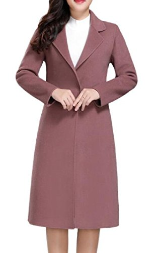 Sheng Xi Womens belt Outwear Topcoat Lapel Pure Color Pea Coat Pink 3XL by Sheng XiWomen (Image #1)