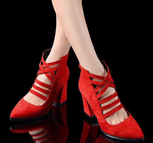 Aisun Women's Fashion Pointed Toe Zipper Mid Block Heels Sandals Boots Red k6Sb5FMkwY