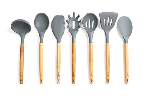 Lively Home Goods 7-Piece Premium Silicone Kitchen Cooking Utensils Set with Bamboo