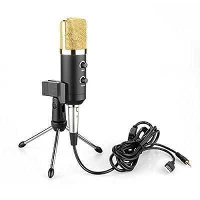 Floureon USB Studio Condenser Recording Microphone (Cardioid Pick-up Pattern) with Stand + Anti-wind Foam Cap BM-100FX from Floureon