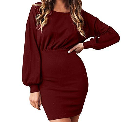 Clearance Sale! Wobuoke Women Ladies Long Sleeve Solid Lantern Sleeve Casual Loose Mini Bodycon Dress! -