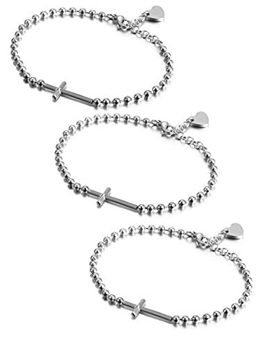 - JINBAOYING Cross Christian Bracelet Heartbeat Sideways Bracelet Stainless Steel Italian Style Charm Adjustable Bracelets Link for Women (White Cross Bracelet (Set of 3))