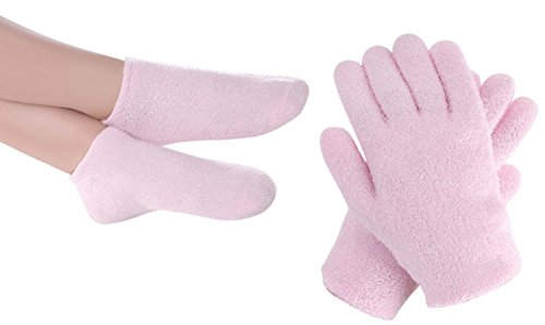 FOCUSAIRY Moisturizing Skincare Spa Gel Socks Gloves Set for Softening Dry Hard Cracked Heel Feet and Hands (Pink)