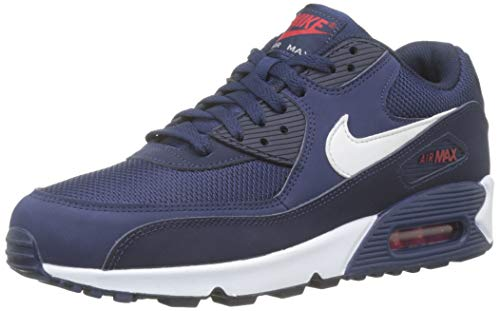 Nike Mens Air Max 90 Essential Running Shoes Midnight Navy/White/University Red AJ1285-403 Size 9.5