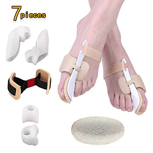 Bunion Corrector (7 Pieces) for Hallux Valgus Relief, Adjustable Bunion Splint Set Night Time Soft Gel for Toe Straightener,Toe Spacers,Big Toes Joint,Toe Separators by Civbalen