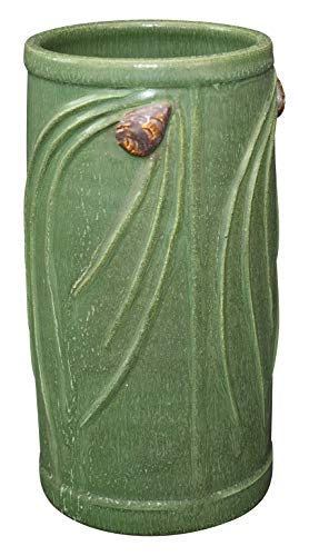 Ephraim Faience Pottery 2002 Matte Green Northwood Pine Cone Vase 900