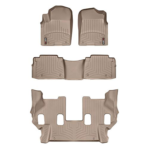 All Weather Weathertech Floor Mats FloorLiner for QX56/QX80/Armada- 1st/2nd/3rd Row - Tan