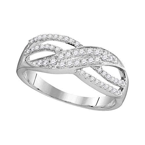 10k White Gold Diamond Leaf Ring Crossover Band Three Row Fashion Womens Fancy .30 ct