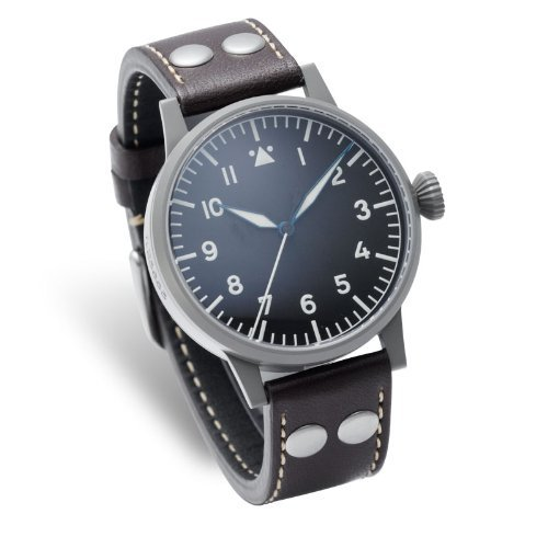 Laco 1925 Pilot Men's Quartz Watch with Black Dial Analogue Display and Brown Leather Strap 861744