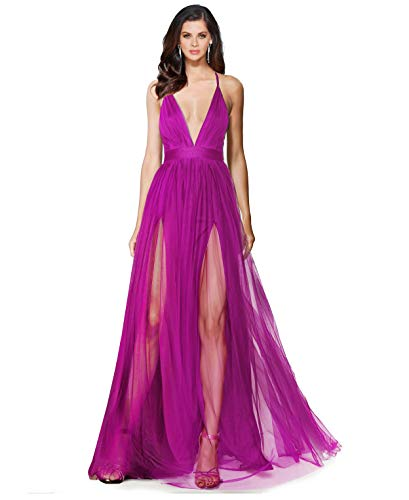 Alluring deep v-Neckline Spaghetti Straps Criss-Cross Open Back Tulle Dual Front Slits Evening Prom Formal Dress (Grape, L)