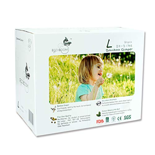 (ECO BOOM Baby Bamboo Biodegradable Diapers Infant Nature Disposable Diapers Eco Friendly Nappies for Babies Size L 90 Count-Pack)