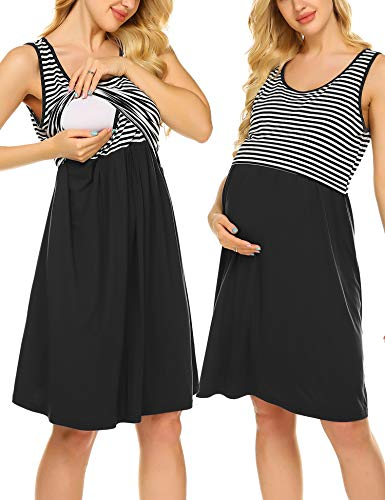 Striped Gown - Ekouaer Women's Nursing Gowns for Breastfeeding Sleeveless Striped Maternity Nightdress for Summer(Black,S)