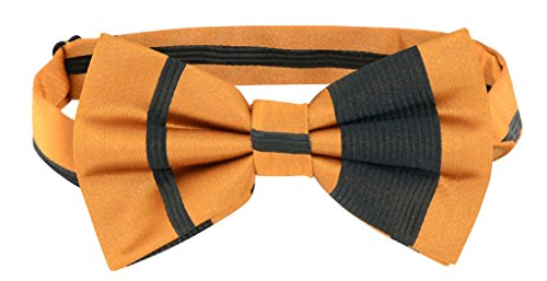 Vesuvio Napoli BOWTIE Gold & Black Woven Striped Design Men's Bow Tie