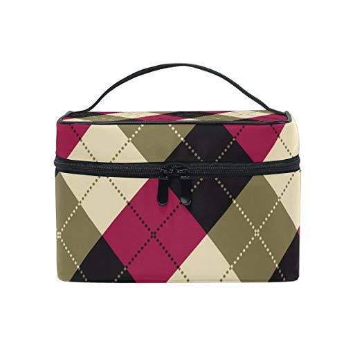 Makeup Cosmetic Bag Red Black Cream Plaid Checks Portable Travel Train Case Toiletry Bags Organizer Multifunction Storage